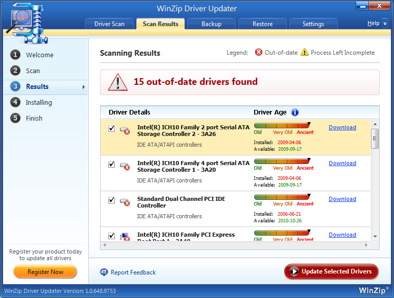 Results Dashboard Winzip driver updater